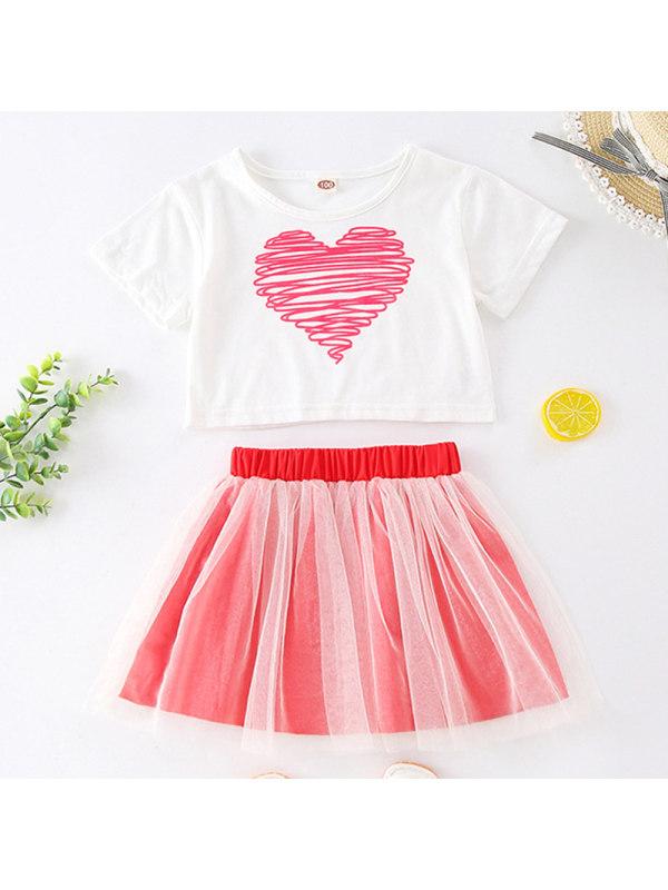 【18M-7Y】Girl Sweet Heart Pattern Short Sleeve T-shirt Mesh Short Skirt Set