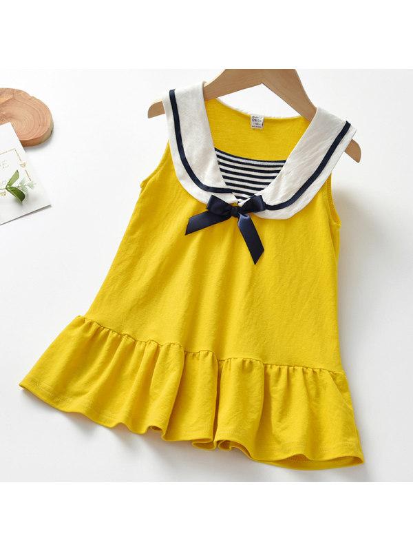 【18M-7Y】Girl Sweet Yellow Lapel Sleeveless Dress