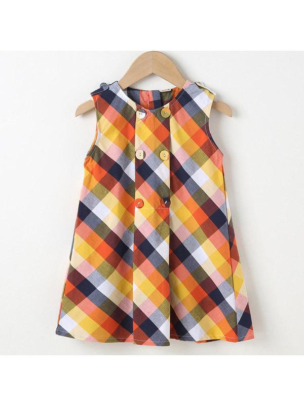 【18M-7Y】Girl Sweet Yellow Plaid Sleeveless Dress