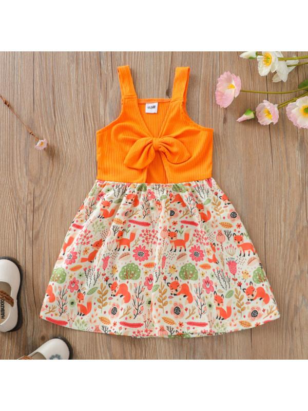 【18M-7Y】Cute Cartoon Print Orange Dress