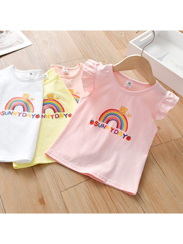 【18M-7Y】Cute Letters and Rainbow Print T-shirt