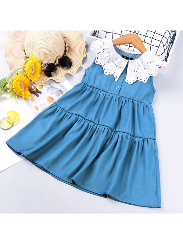 【18M-7Y】Girl Sweet Denim Lace Lapel Sleeveless Dress