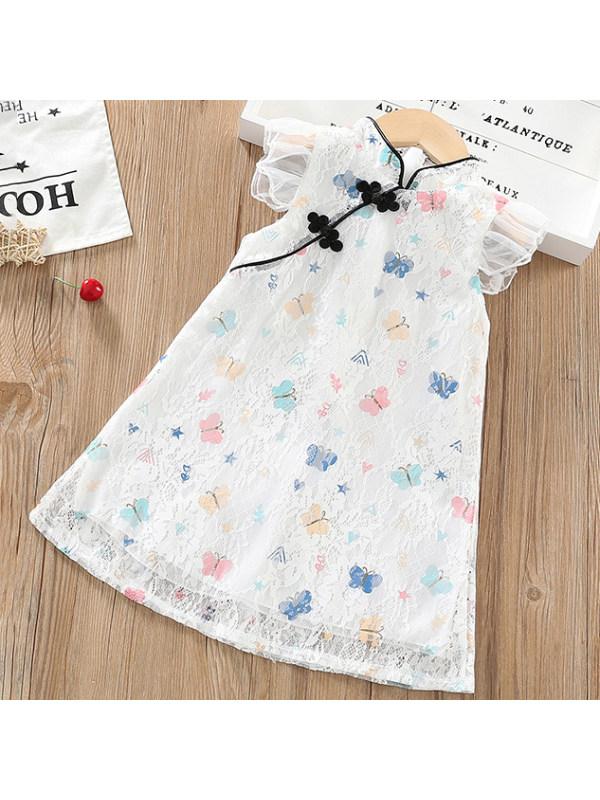 【2Y-13Y】Sweet Butterfly Print Little Flying Sleeve Lace Dress