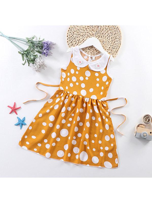 【3Y-9Y】Girls Doll Collar Sleeveless Polka Dot Print Dress