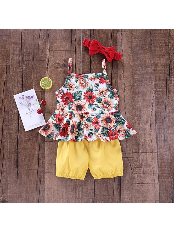 【12M-4Y】Girls' Floral Print Suspender Trousers Suit