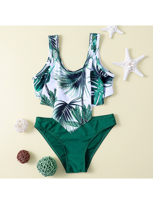 【6Y-13Y】Girls Leaf Print Ruffled One-piece Swimsuit