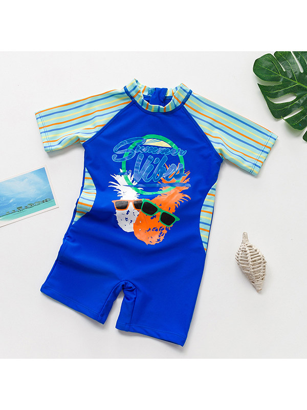 【18M-5Y】Boys Round Neck Cartoon Print Stitching One-piece Swimsuit