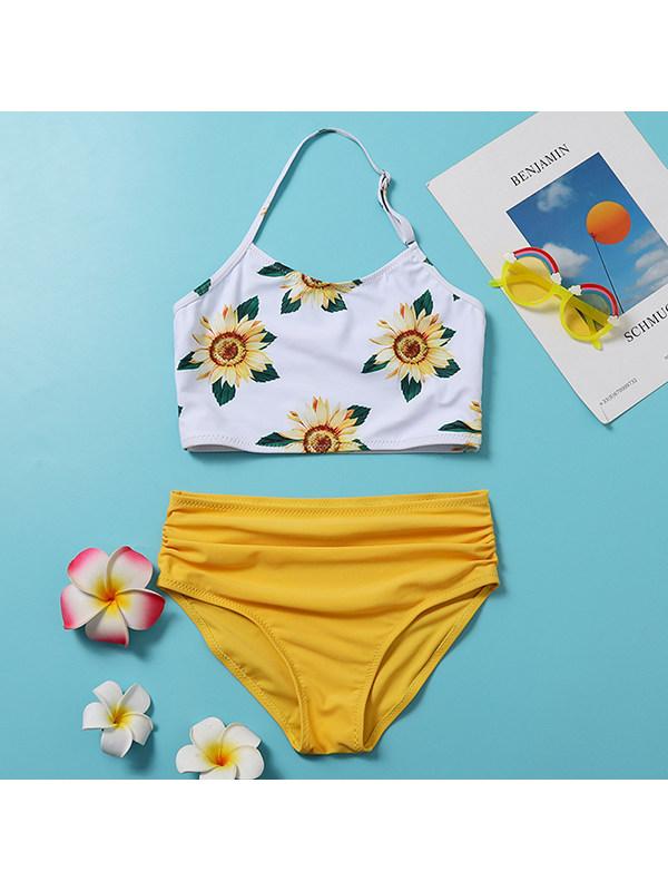 【6Y-13Y】Girls Halter Print Split Two-piece Bikini Swimsuit