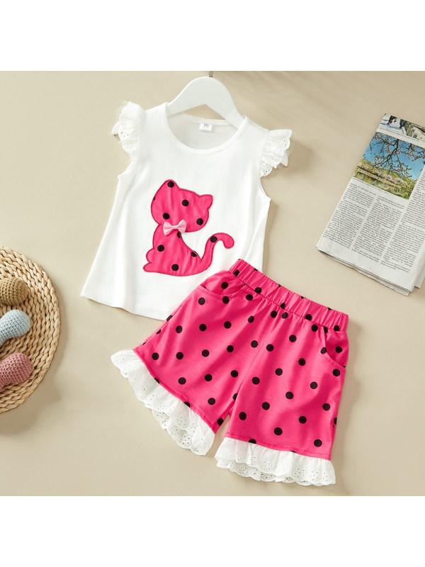 【12M-5Y】Girls Cat Polka Dot Sleeveless T-shirt Polka Dot Shorts Set - bowknot random - 3414