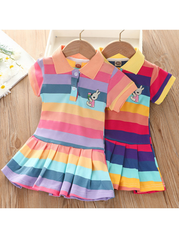 【18M-7Y】Girls Sweet Rabbit Embroidered Color Striped Lapel Short Sleeve Dress