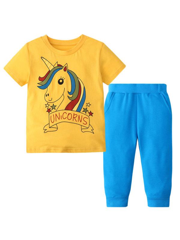 【12M-7Y】Girl Cartoon Unicorn Print Short-sleeved T-shirt Two-piece Trousers