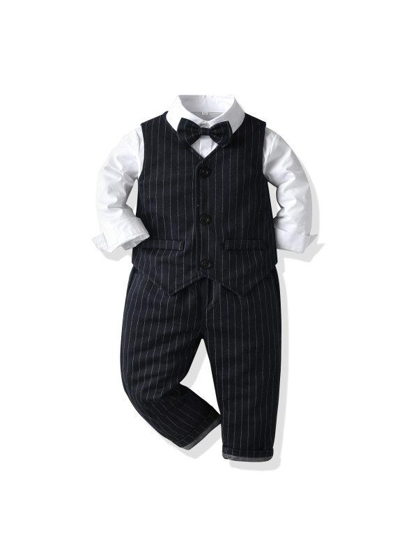 【12M-7Y】Boys Vest Shirt Trousers British Style Suit