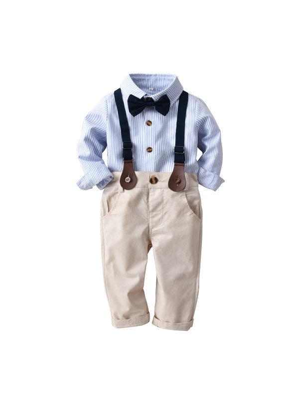 【12M-4Y】Boys Striped Bow Tie Gentleman Suit