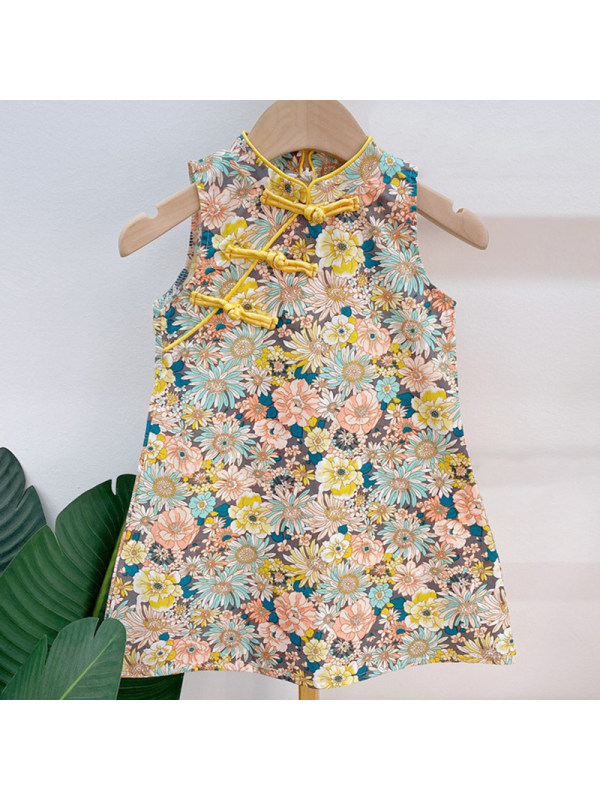 【18M-7Y】Girl Sweet Yellow Floral Stand Collar Sleeveless Dress