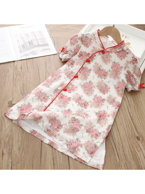 【2Y-9Y】Girls Sweet Chiffon Embroidered Stand Collar Short Sleeve Dress