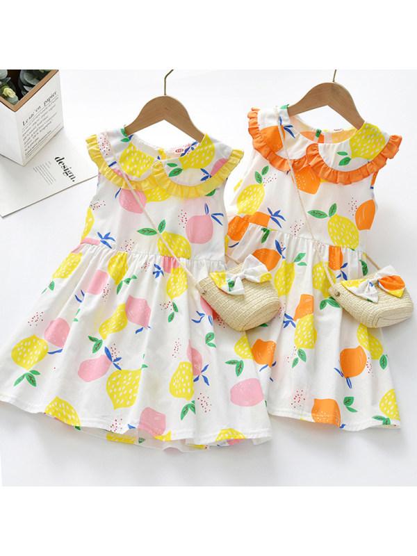 【12M-5Y】Girl Sweet Lemon Pattern Sleeveless Dress With Bag