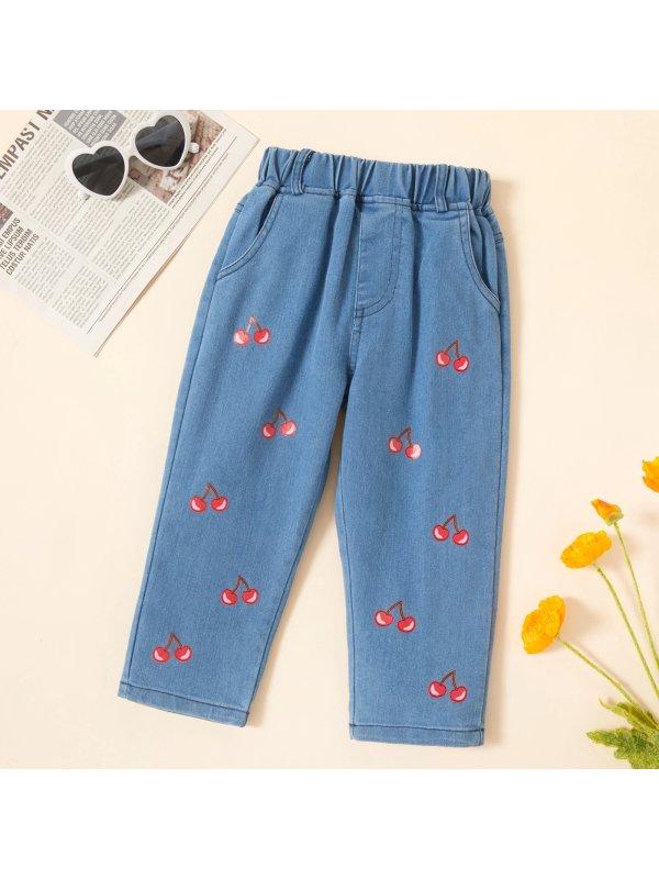 【18M-7Y】Girls Sweet Cherry Pattern Jeans