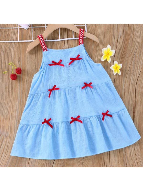 【6M-2.5Y】Girl Sweet Blue Bow Sling Dress