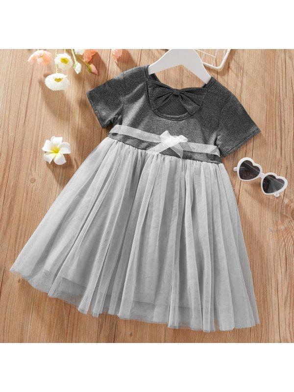 【18M-7Y】Girls Sweet Gray Mesh Short Sleeve Dress