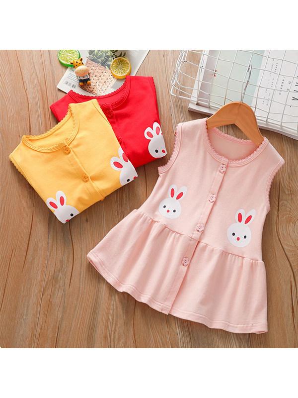 【18M-7Y】Girls Round Neck Sleeveless Cartoon Vest Cotton Dress