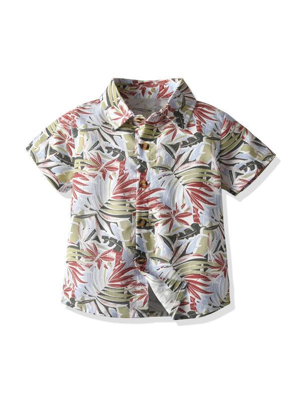 【12M-7Y】Boys Coconut Tree Flower Shirt Short Sleeve Shirt