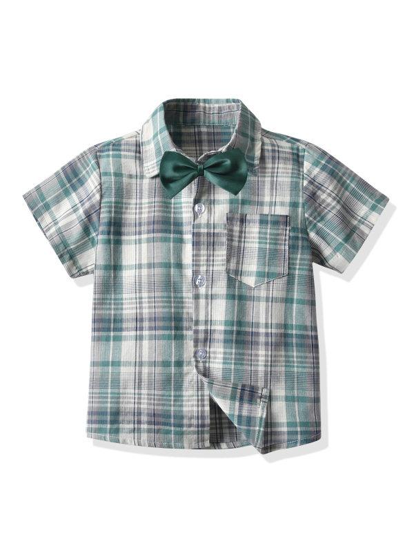 【12M-7Y】Boys Lapel Bow Tie Short-sleeved T-shirt