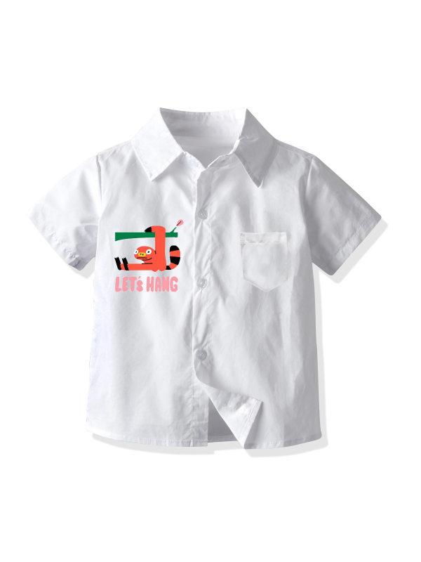 【12M-7Y】Boys Lapel Cartoon Dinosaur Pattern Short-sleeved Shirts