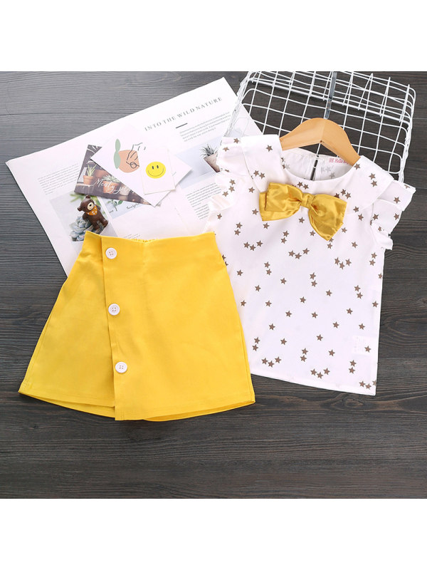 【12M-5Y】Girls Fashion Short-sleeved Two-piece Suit