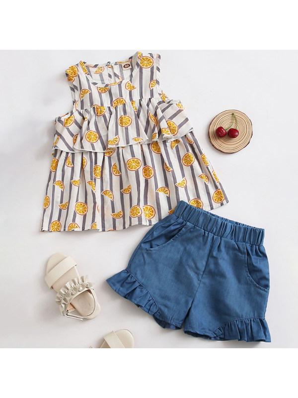 【18M-7Y】Girls Sweet Orange Pattern Top Denim Shorts Set
