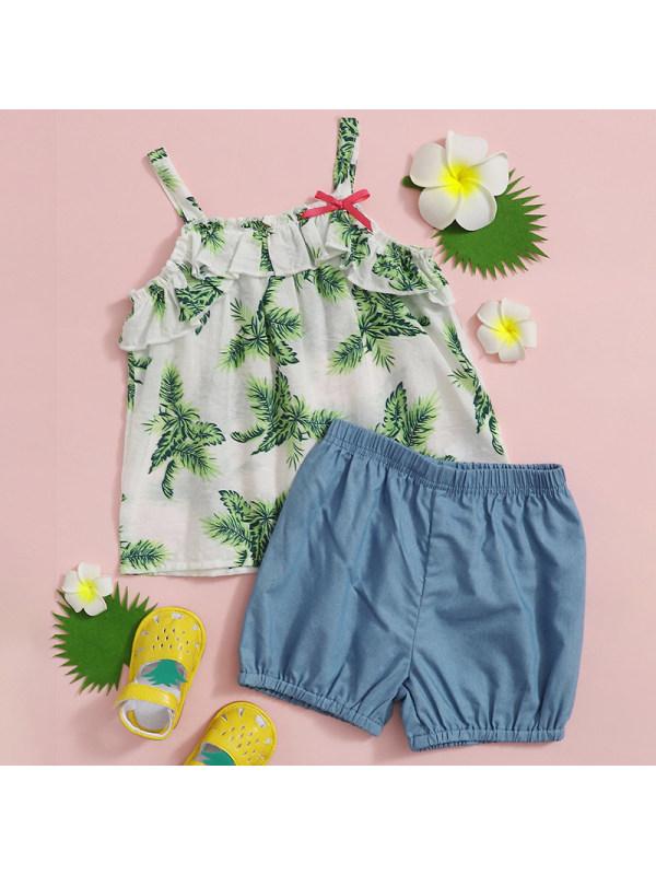 【18M-7Y】Girl Sweet Floral Sling Top Denim Shorts Set