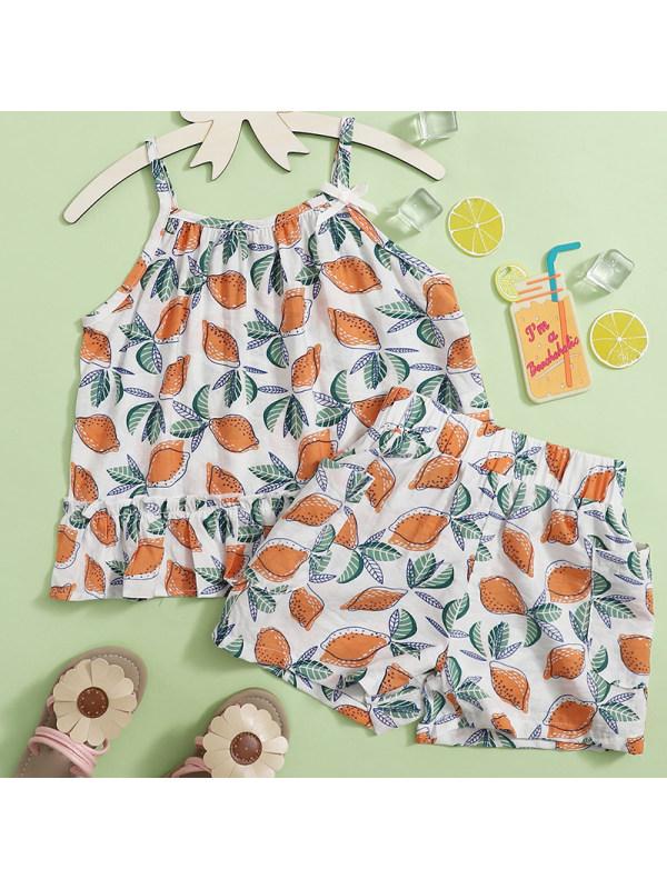 【18M-7Y】Girl Sweet Lemon Pattern Top Shorts Set