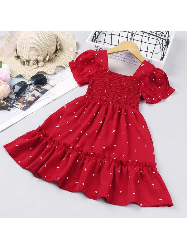 【18M-7Y】Girls Polka Dot Short-sleeved Lace Princess Dress