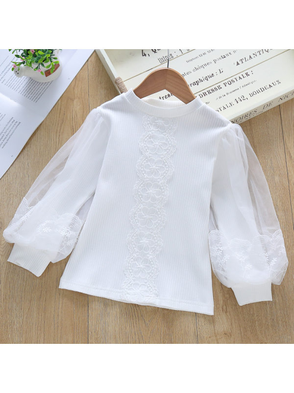 【3Y-11Y】Girls Pure Cotton Long-sleeved Casual Shirt