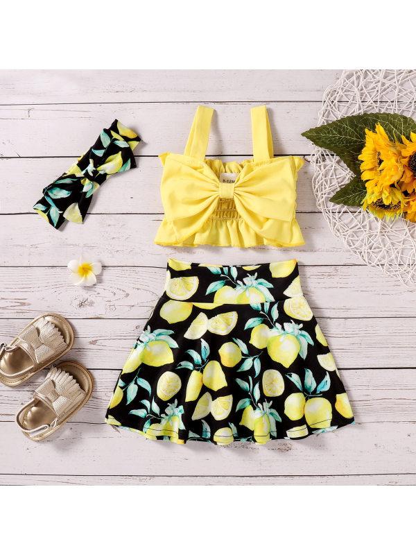 【6M-3Y】Girls Fashion Bow Camisole Top Lemon Print Short Skirt Set
