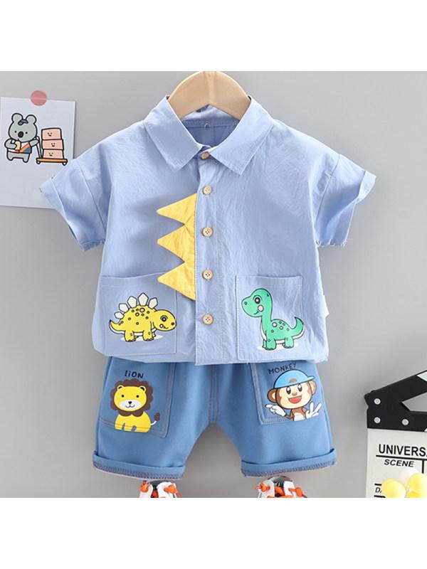 【12M-5Y】Boys Casual Cartoon Pattern Short-sleeved Shirt Shorts Set