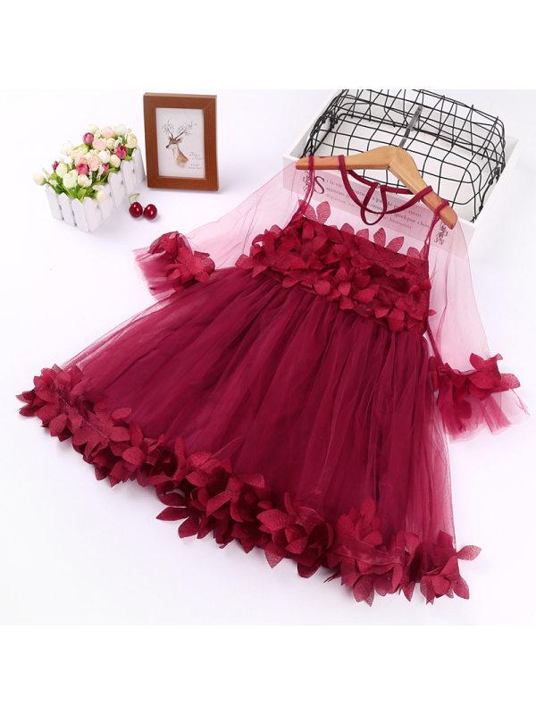 【2Y-9Y】Big Girl Sweet Petal Lace Mid-sleeve Princess Dress