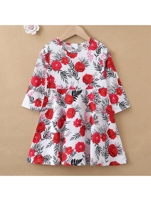 【18M-7Y】Sweet Red Flower Print Long Sleeve Dress