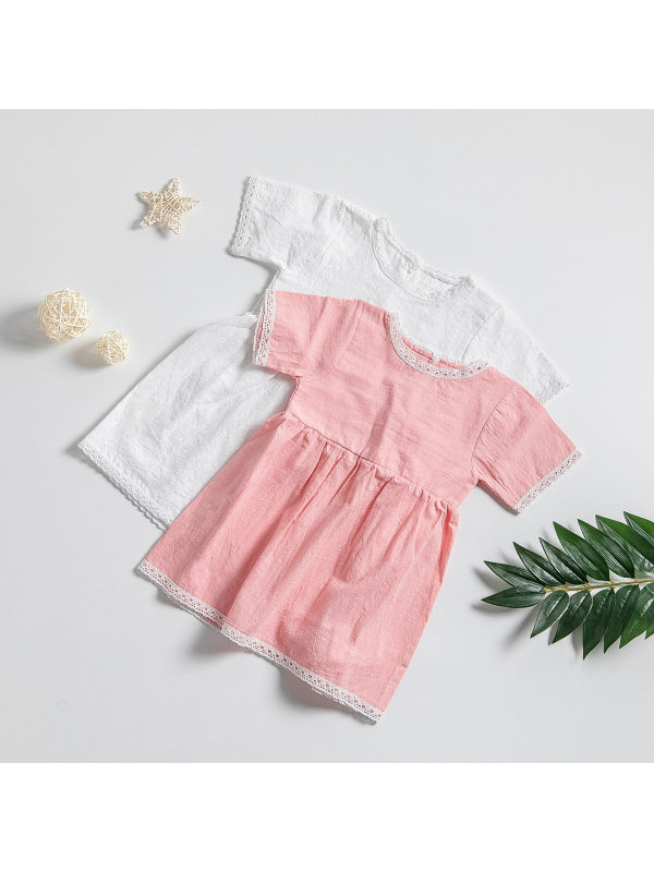 【12M-5Y】Girls Lace Short-sleeved Solid Color Dress
