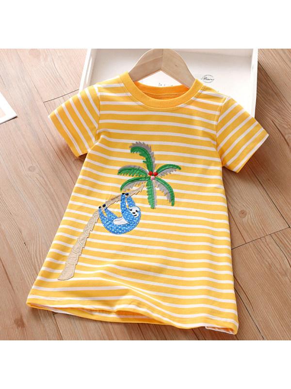 【18M-7Y】Girl Sweet Yellow Striped Short Sleeve Dress