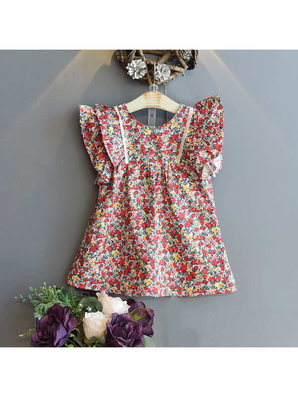 【18M-7Y】Girls Retro Sweet Crew Neck Lace Sleeve Floral Dress
