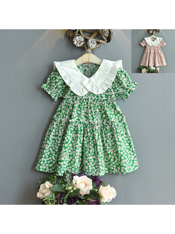 【18M-7Y】Girls Sweet Stitching Doll Collar Short-sleeved Floral Dress