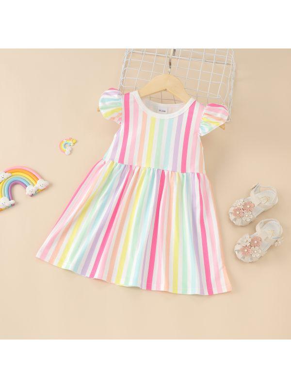 【12M-5Y】Girls Summer Flying Sleeve Rainbow Striped Dress