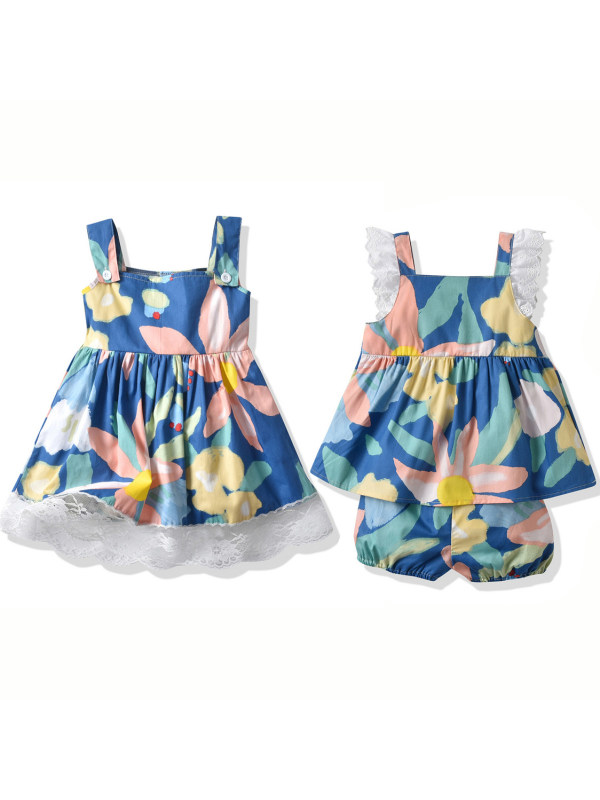 【6M-3Y】Girl Blue Flower Dress And Set