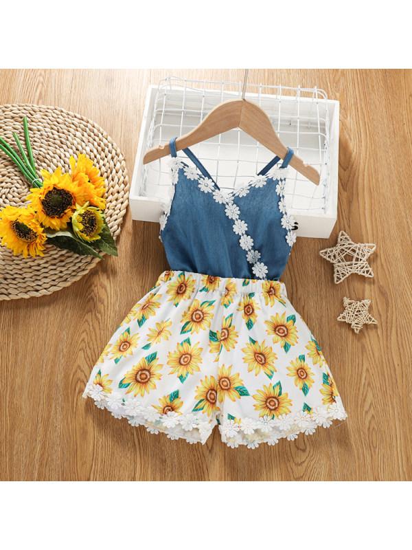 【18M-6Y】Girls' Hollow Embroidered Flower Side Sling Bodysuit