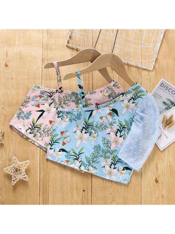 【18M-5Y】Girls' Slant Collar One-shoulder Sling Lace Short-sleeved Blouse