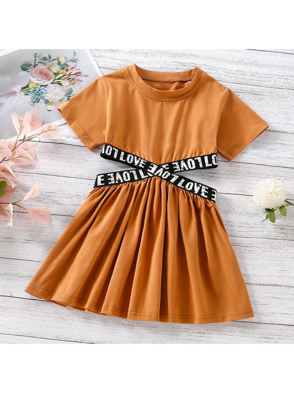 【18M-7Y】Fashion Letter Print Round Neck Short Sleeve Brown Dress