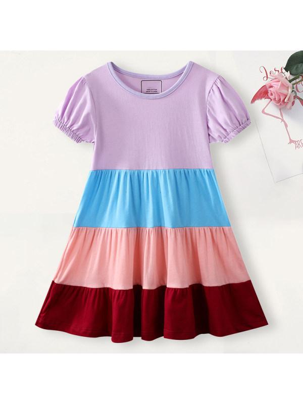 【18M-7Y】Girl Sweet Color Block Short Sleeve Dress