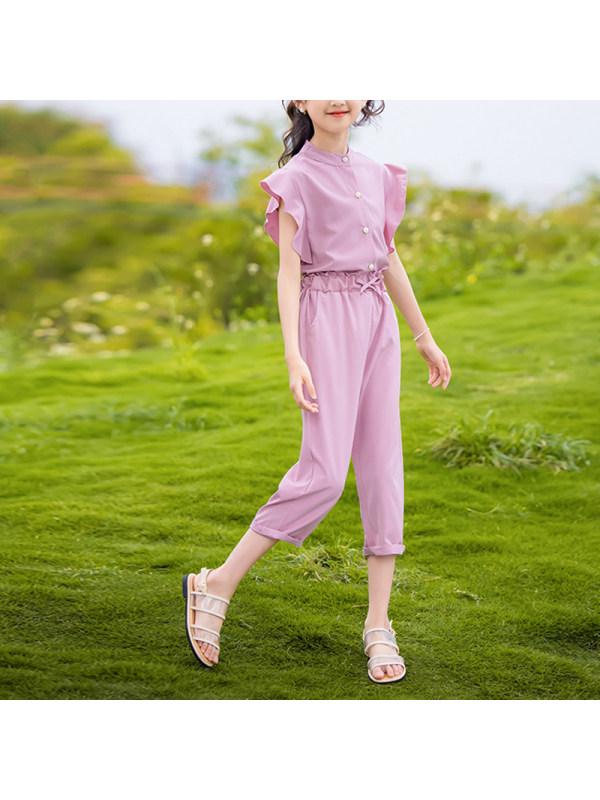【3Y-13Y】Big Girl Sweet Short-sleeved Pants Two-piece Suit