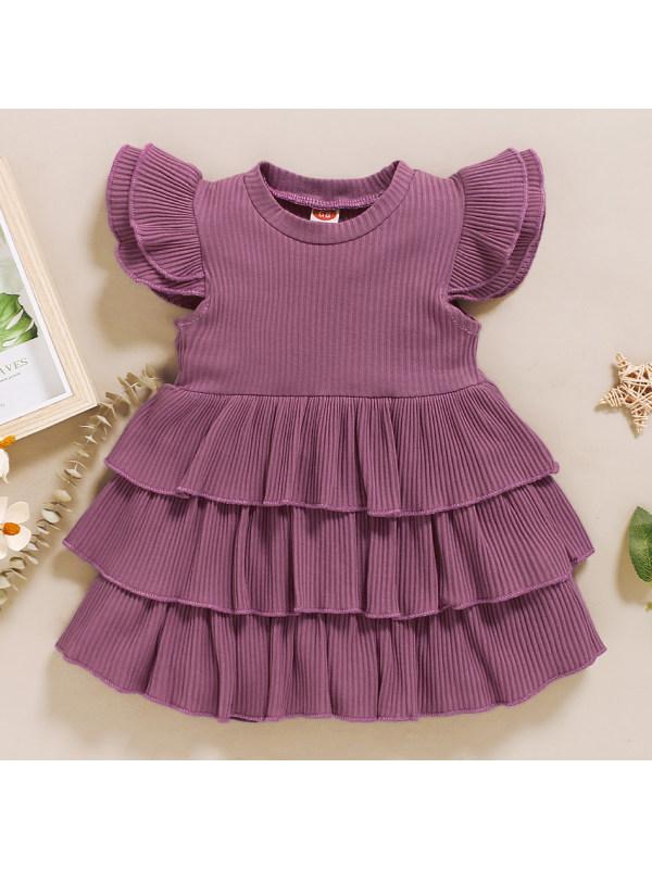 【6M-2.5Y】Cute Round Neck Ruffle Dress