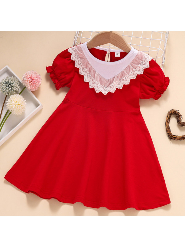 【18M-7Y】Girl Sweet Red Lace Short Sleeve Dress